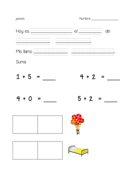 kindergarten daily warm ups- Spanish set 2