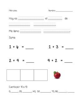kindergarten daily warm ups- Spanish set 3