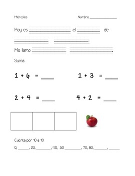 kindergarten daily warm ups- Spanish set 3