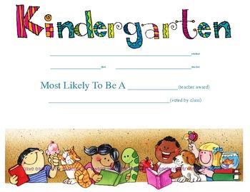 kindergarten diploma with superlative lines