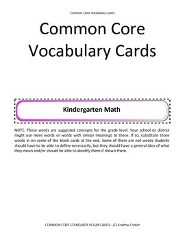 kindergarten grade common core standards vocabulary cards Math ELA