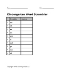 kindergarten word scramble