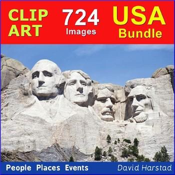Clip Art & Posters | Bundle USA: People, Places, Events | 724 Images (K-12)