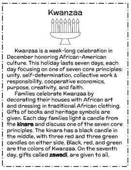 Kwanzaa Reading Passage- FREE SAMPLE!