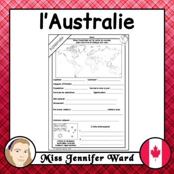 l'Australie French Worksheet