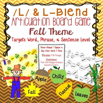 /l/ and L - Blend Fall Themed Articulation Board Game