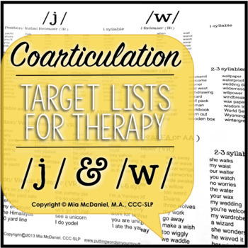 /l/, /l/ blends, /w/,/j/ Sound Targets for Articulation Therapy {coarticulation}