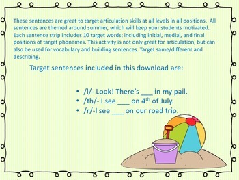 l, r, th Summer Artic/Language Sentences & Activities for Speech Therapy