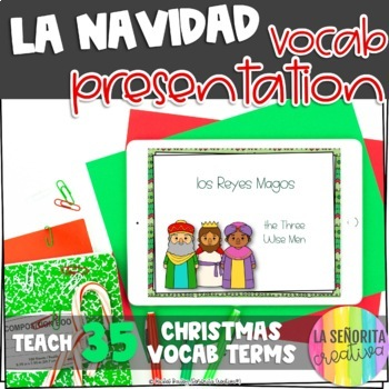 la Navidad Vocab Powerpoint with Pictures and Vocab List (Christmas Terms)