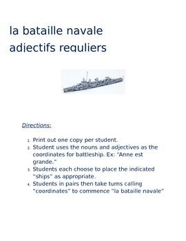 la bataille navale - regular adjectives FRENCH
