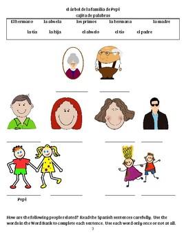 la familia worksheets by el trabajo de la Sra Durante   TpT