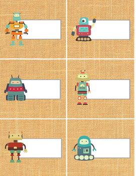 Robot themed labels - trendy tan burlap background - 81/2x11 word doc - organize