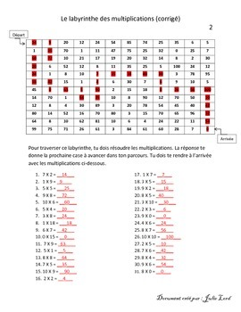 labyrinthe des multiplications 2