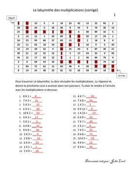 labyrinthe des multiplications