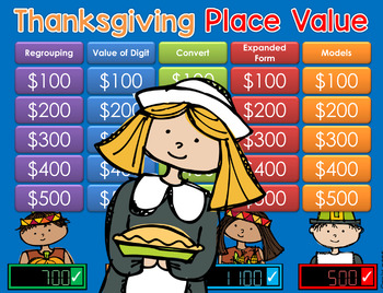 Place Value GAME SHOW Thanksgiving - CC 2nd-4th Gr ppt