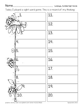 ladybugs: jumbled sight words