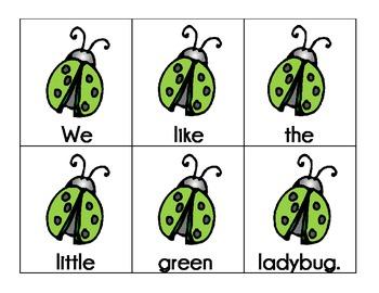 ladybugs: scrambled sentences pocket chart station