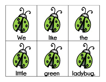 ladybugs: scrambled sentences pocket chart station