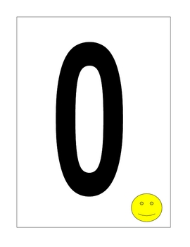 large number cards, from 0-9