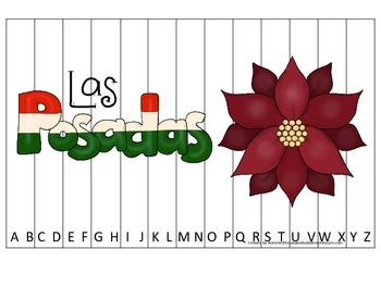 Las Posadas themed Alphabet Sequence Puzzle preschool learning game.  Daycare.
