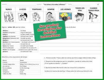 las rutinas y los verbos reflexivos / paired interview activity Spanish