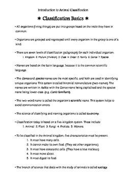 Classification Basics Teacher Notes