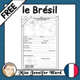 le Brésil French Worksheet FREE