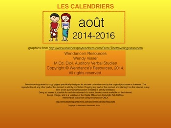 le calendrier - août