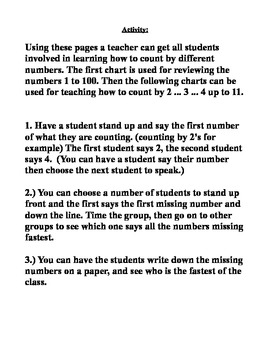 learn skip counting / count by 2 . 3 . 4 etc.