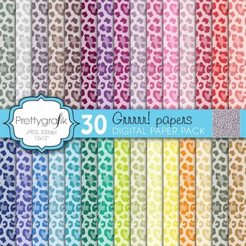 leopard animal print digital paper, commercial use, scrapbook papers - PS597