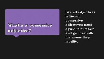 les adjectives possessives