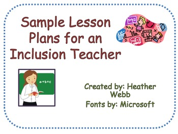 lesson plan template for special education inclusion teachers by ...