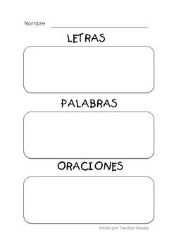 letras, palabras, oraciones clasificación