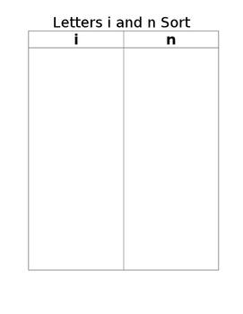letter I and N letter sound sorting