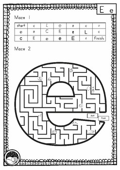 letter 'e' maze - 2 mazes on 1 page