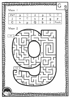 letter 'g' maze - 2 mazes on 1 page