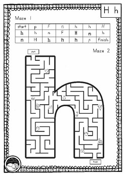 letter 'h' maze - 2 mazes on 1 page