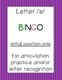 letter /s/ BINGO (initial position only)