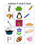 letters P and F letter sound sorting
