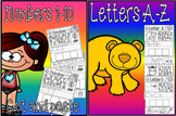 letters a-z cut and paste numbers 1-10