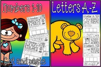 letters a-z cut and paste and numbers 1-10