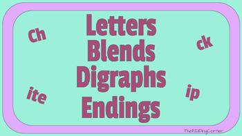 letters,blends,digraph,ending cards