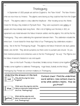 leveled/ lexiled thanksgiving close read