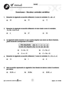 Álgebra: Ecuaciones – Resolver entradas variables Gr. 3-5