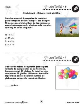 Álgebra: Ecuaciones – Resolver una variable Gr. 3-5