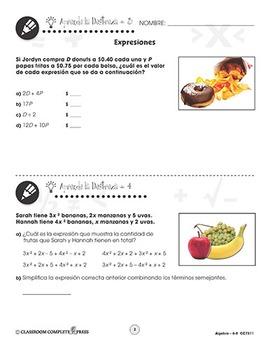 Álgebra: Expresiones Gr. 6-8