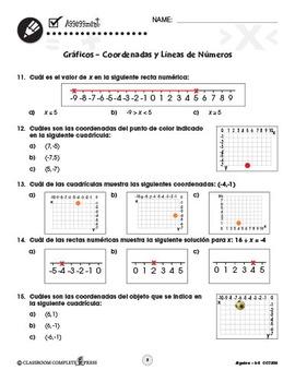 Álgebra: Gráficos – Coordenadas y Líneas de Números Gr. 3-5