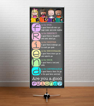 library CHALKBOARD {Melonheadz} - Class Decor: LARGE BANNER, good FRIEND- PASTEL