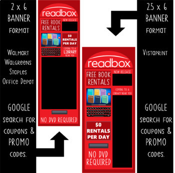 library - Classroom Decor: LARGE BANNER, READBOX / free rental / bulletin board