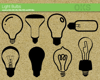 light bulb SVG cut files, DXF, vector EPS cutting file instant download